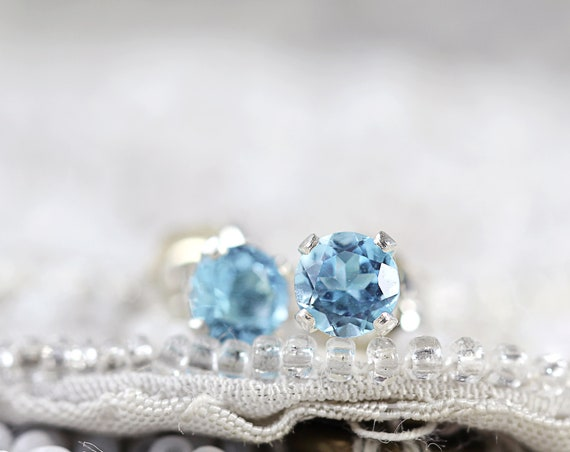 Swiss Blue Topaz Earrings - Blue Topaz Studs Earrings