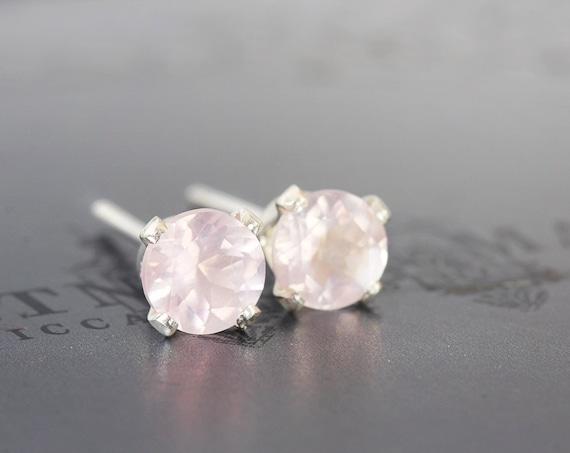 Rose Quartz Earrings - Silver Stud Earrings