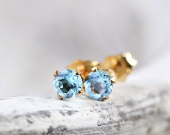Swiss Blue Topaz Stud Earrings - Blue Ear Studs - Gemstone Studs - November Birthday Gift - Light Blue Earrings - Gift Idea - Gold Studs