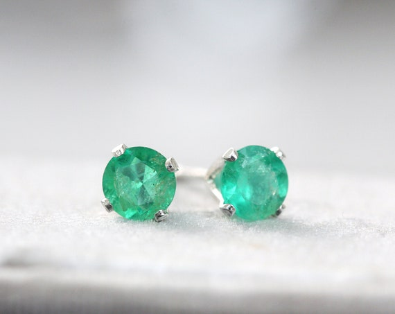 Emerald Studs Silver - Emerald Earrings Silver or Gold - Emerald Stud Earrings