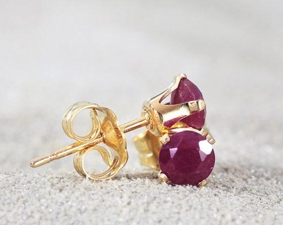Ruby Stud Earrings - July Birthstone Gift