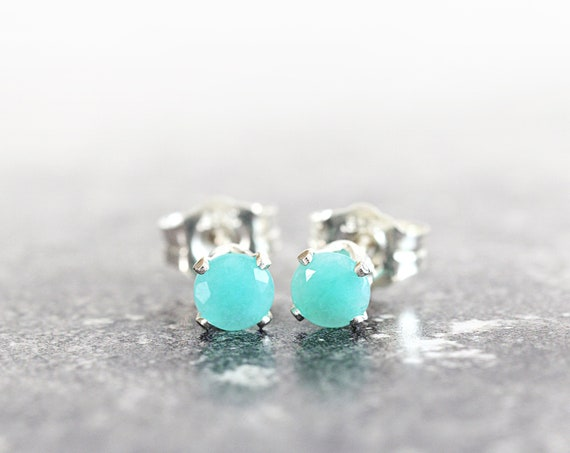 Blue Green Amazonite Earrings - Amazonite Studs