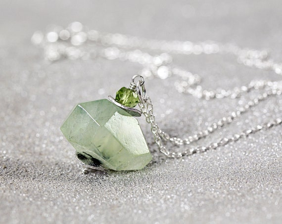 Green Prehnite Pendant - Healing Crystal Necklace