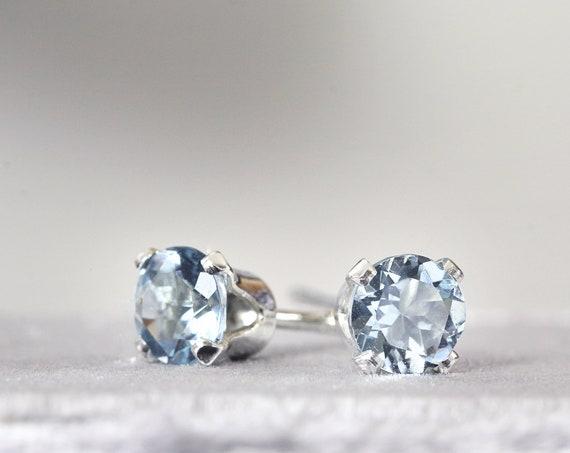 Aquamarine Stud Earrings - Silver Stud Earrings