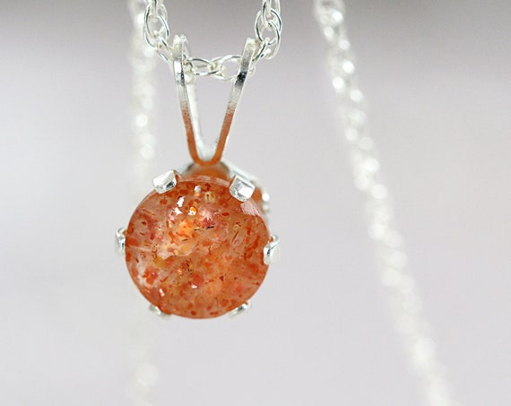 Dainty Sunstone Necklace Pendant - Good Luck Necklace For Women