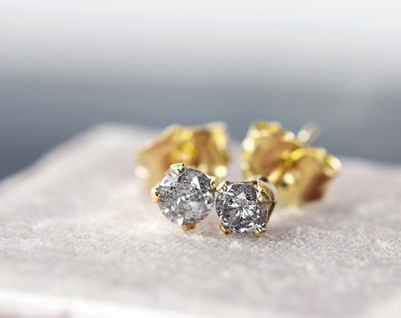 Real Diamond Stud Earrings - Grey Diamond Studs