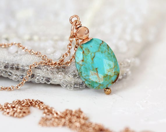 Genuine Turquoise Jewelry -Turquoise & Rose Gold Necklace