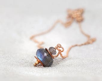 Labradorite Necklace - Rose Gold Necklace - Labradorite Jewelry - Gray Necklace - Gemstone Jewellery - Labradorite Pendant