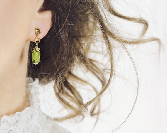 Peridot Drop Earrings - Gold & Green Stone Earrings
