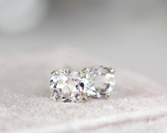White Topaz Studs - 4mm Stud Earrings