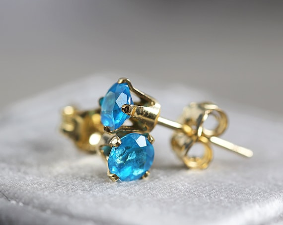 Neon Blue Apatite Earrings - Apatite Stud Earrings