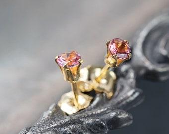 Pink Tourmaline Stud Earrings - Pink Tourmaline Earrings - Tourmaline Studs - October Birthstone - Tiny Earrings - Stud Earrings Gold