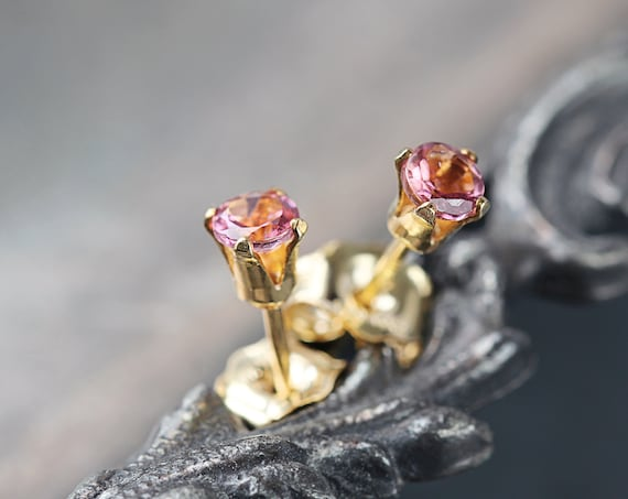 Pink Tourmaline Stud Earrings - Pink Tourmaline Studs