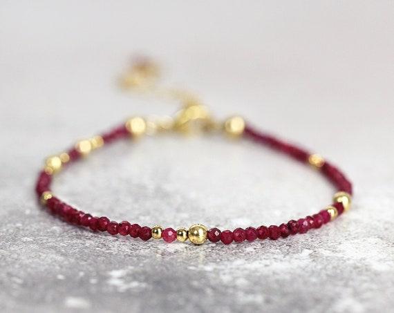 Skinny Ruby Bracelet - Dainty Ruby Jewelry For Women