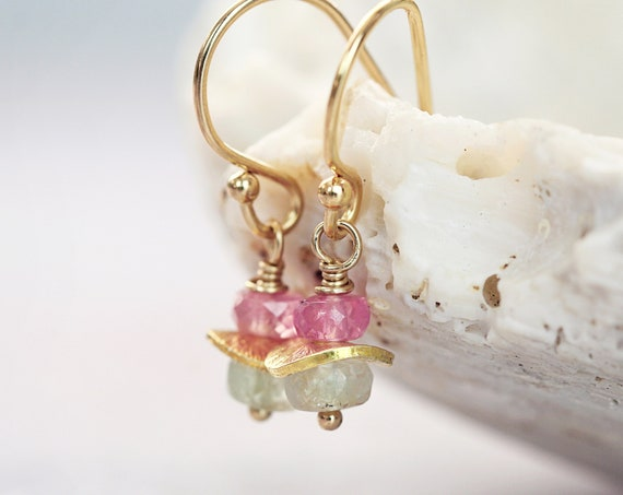 Pink and Green Sapphire Earrings - Tiny Dainty Dangle Earrings