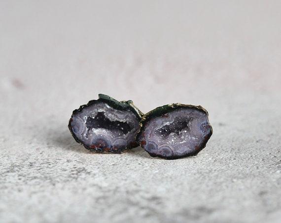 Raw Geode Stud Earrings - Unique Gemstone Studs