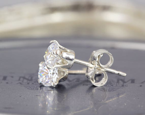 CZ Wedding Studs - Bridal Earrings - Tiny Stud Earrings - Earrings For Bridesmaids - Simple Studs - Sparkly Wedding Earrings