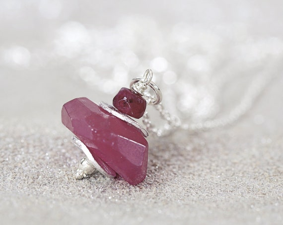 Silver Ruby Necklace - Christmas Gift For Women