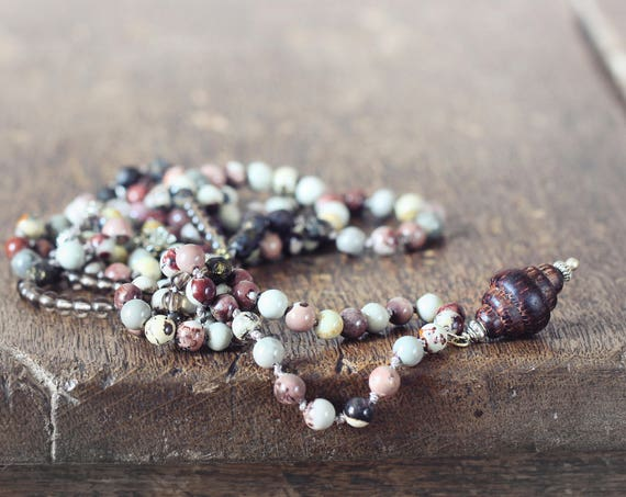 Long Lariat Necklace - Smoky Quartz and Jasper Bead Necklace