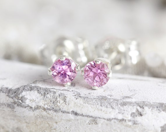 Pink Sapphire Stud Earrings - Real Sapphire Earrings