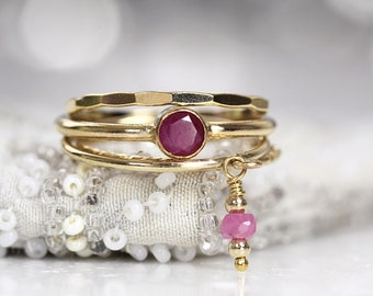 Gold Ruby Ring Set - July Birthstone Rings Stackable - Boho Rings Gold Filled - Fine Jewelry Rings - Set of 4 Ruby Stacking Rings For Women