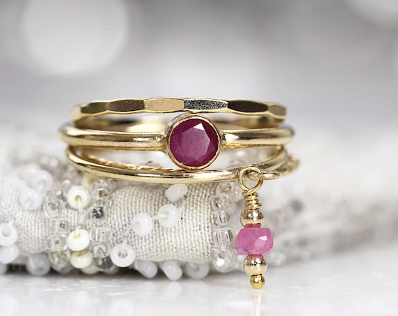 Gold Ruby Ring Set - July Birthstone Rings Stackable