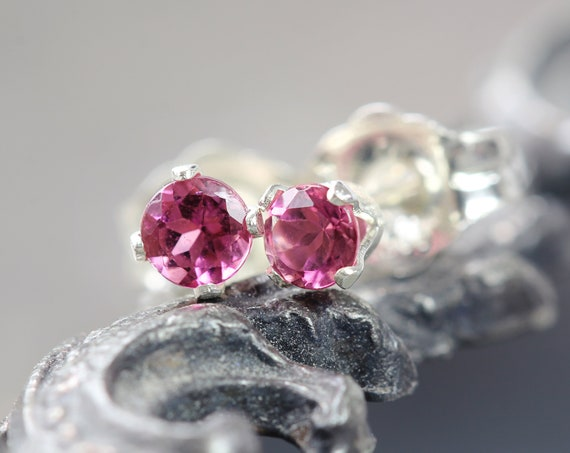 Pink Tourmaline Earrings - Pink Stud Earrings