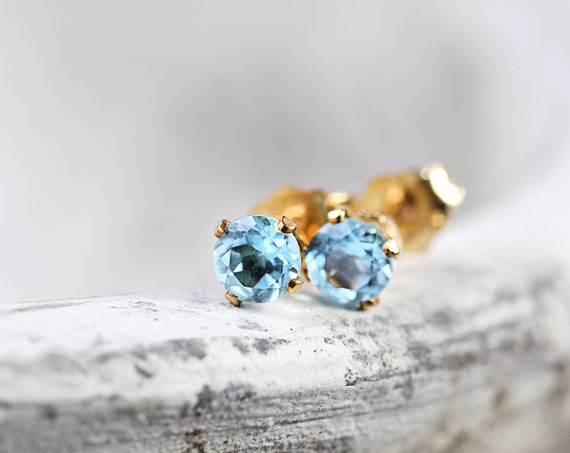 Swiss Blue Topaz Stud Earrings - Blue Gemstone Ear Studs
