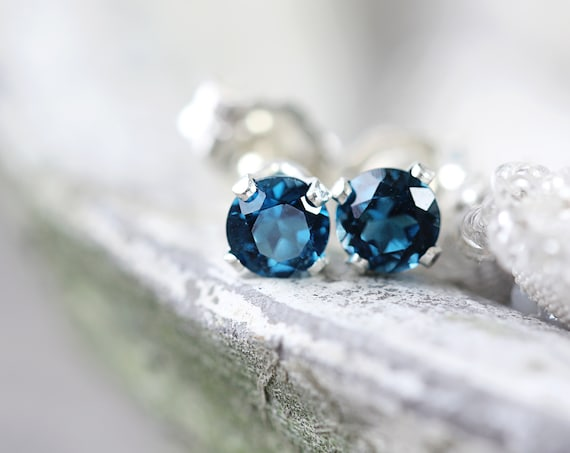 Silver Blue Topaz Stud Earrings - Earrings For Sister