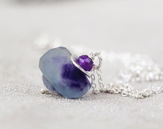 Fluorite Pendant - Raw Fluorite Necklace