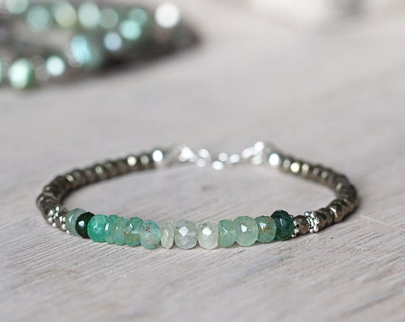 Green Emerald Bracelet - May Birthstone Bracelet