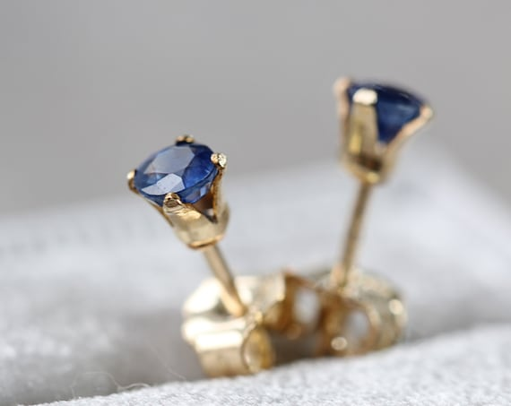 Sapphire Stud Earrings - Tiny Gemstone Studs