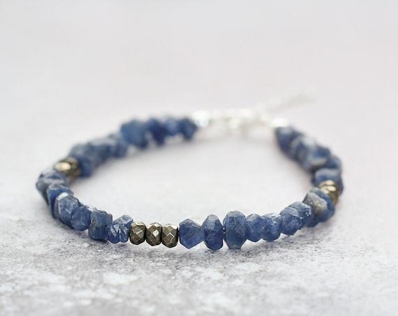 Rough Sapphire Bead Bracelet - Earthy Gemstone Bracelet