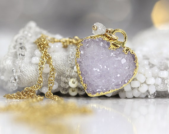 White Heart Necklace - Druzy Heart Pendant with Rough Diamond