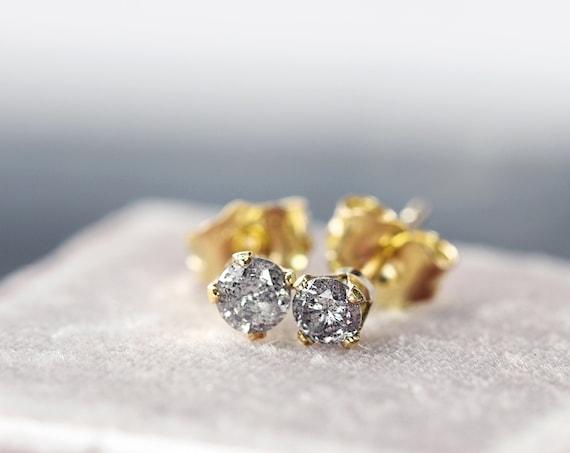 Tiny Diamond Studs - Anniversary / Love Gift