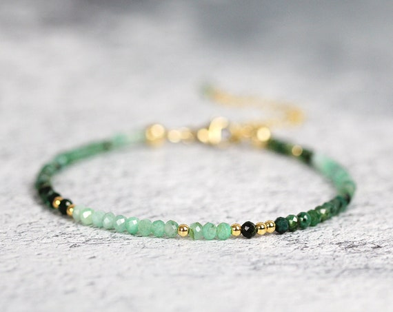 Ombre Emerald Bracelet Gold Fill - May Birthstone Jewelry Gift For Her