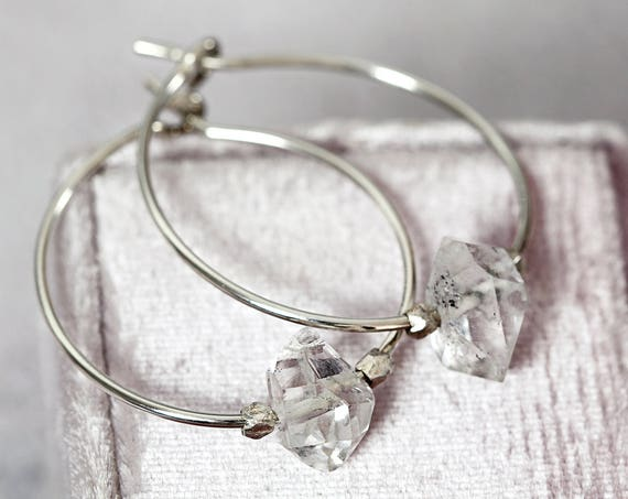 Herkimer Diamond Wedding Earrings -  Modern Wedding Jewelry
