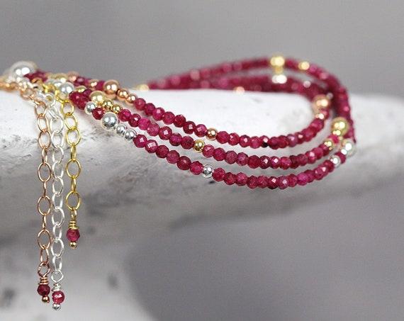 Dainty Red Ruby Bracelet - Beaded Stackable Bracelets for Women