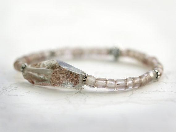 Raw Quartz Crystal Bracelet - Organic Jewelry - Natural Stone Bracelet