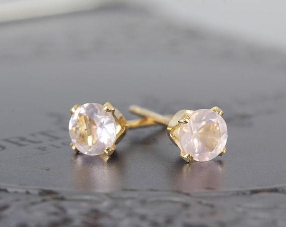 Rose Quartz Studs - Dainty Stud Earrings