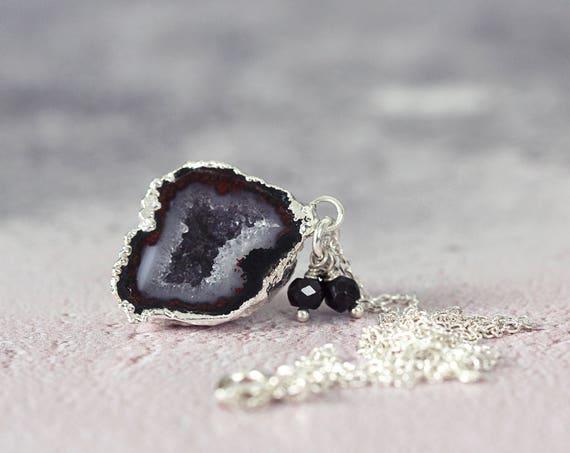 Black Geode Necklace - Gemstone & Diamond Necklace