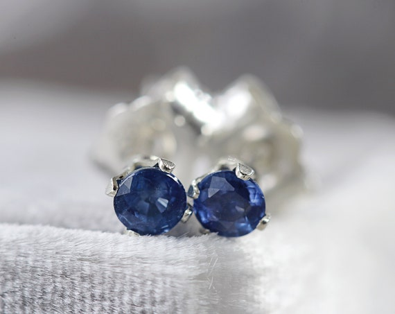 Precious Stone Stud Earrings - Sapphire Ear Studs