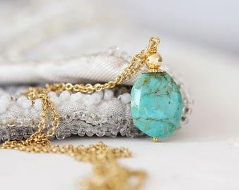 Kingman Turquoise Necklace - Genuine Turquoise Jewelry - December Birthstone - Turquoise Necklace Gold - Kingman Turquoise Pendant