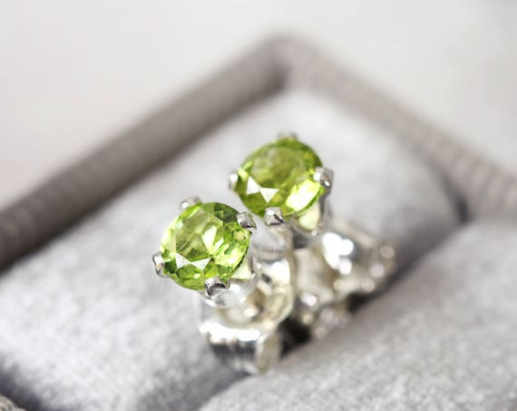 Peridot Ear Studs - Silver Stud Earrings