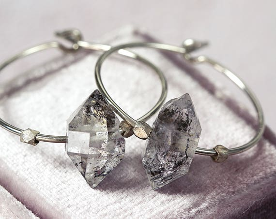Crystal Hoop Earrings - Herkimer Diamond Earrings