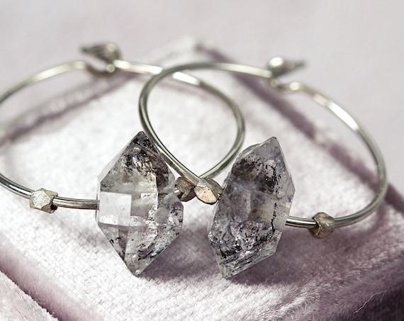 Crystal Hoop Earrings - Herkimer Diamond Earrings
