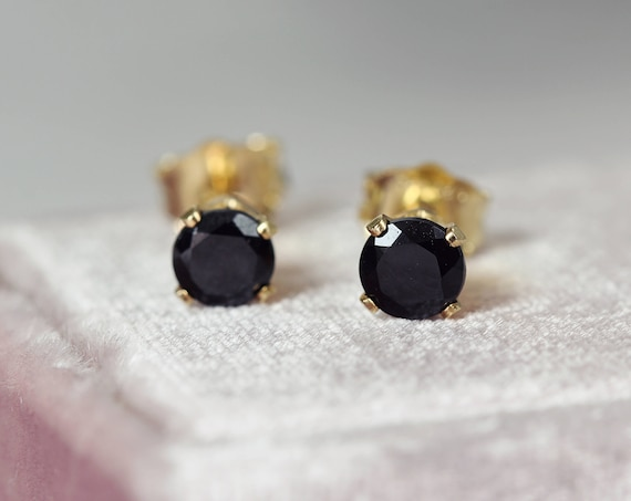 Black Spinel Earrings - Black & Gold Stud Earrings