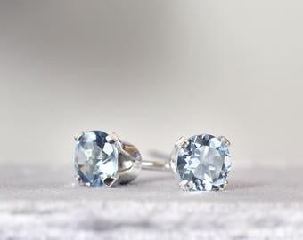 Aquamarine Stud Earrings - Silver Stud Earrings - Aquamarine Studs - March Birthstone Earrings - Birthstone Jewelry - Gemstone Stud Earrings
