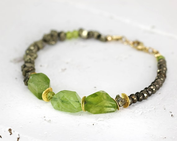 Raw Peridot Bracelet - Green Gemstone Bracelet