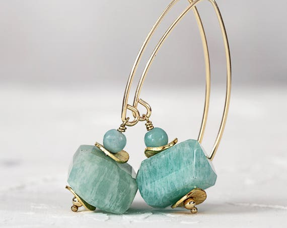 Amazonite Earrings - Chunky Stone Earrings For Women